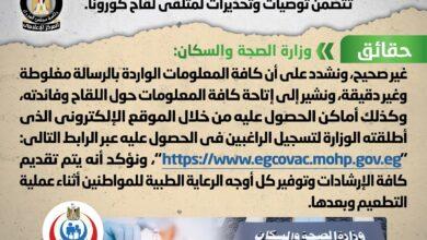 صورة مجلس الوزراء: احذروا هذه الرسائل بشأن توصيات لمتلقي لقاح كورونا