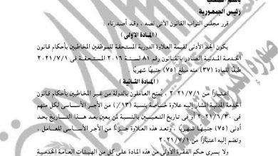 صورة ننشر نص قانون العلاوة العلاوة والحوافز للعاملين بالدولة التي ستطبق أول يوليو