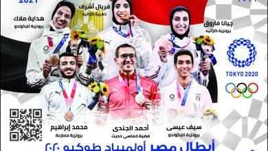 صورة البريد المصري يصدر بطاقة تذكارية لأبطال مصر الحائزين على ميداليات في أُولمبياد طوكيو