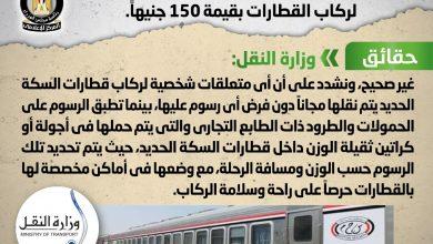 صورة مجلس الوزراء يوضح حقيقة  فرض رسوم على المتعلقات الشخصية لركاب القطارات بقيمة 150 جنيهاً